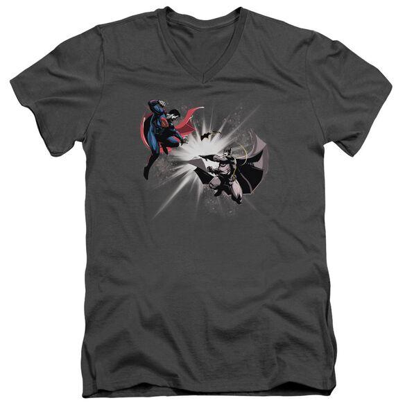 Batman V Superman Fight Burst Short Sleeve Adult V Neck T-Shirt