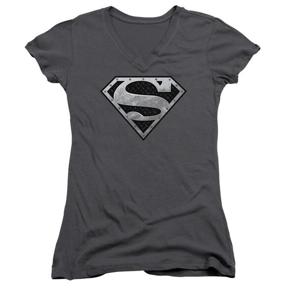Superman Super Metallic Shield Junior V Neck T-Shirt
