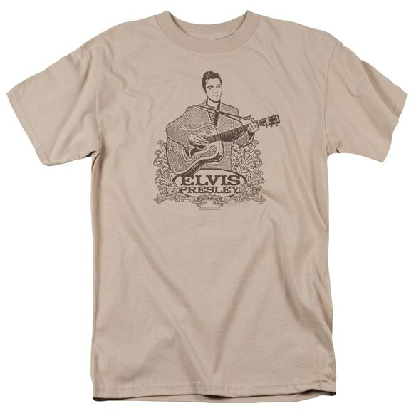 Elvis Laurels Short Sleeve Adult Sand T-Shirt