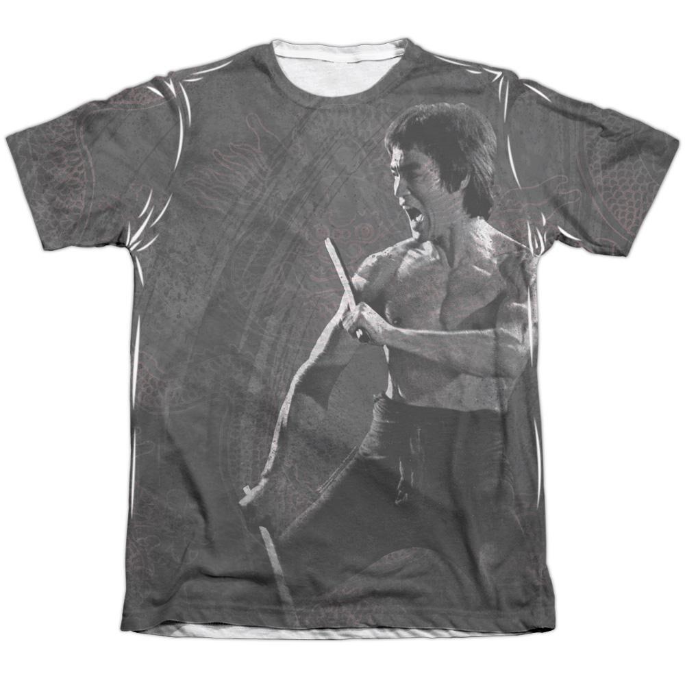 Bruce Lee Dragon Print Adult 65 35 Poly Cotton Short Sleeve Tee T-Shirt