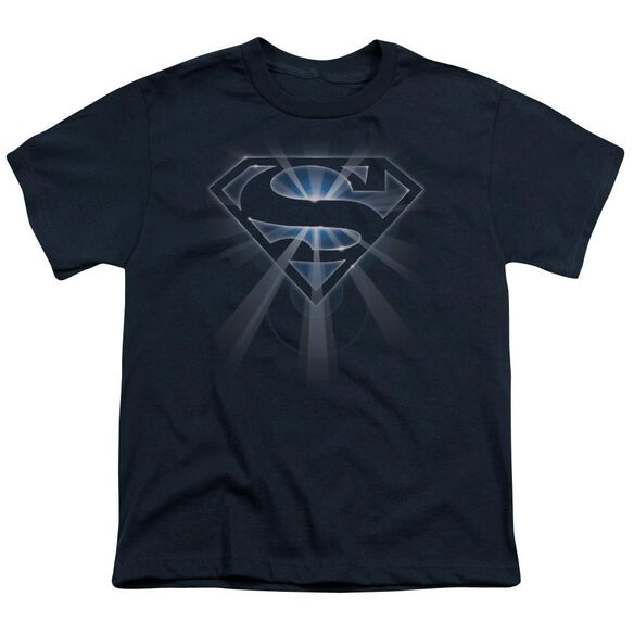 SUPERMAN GLOWING SHIELD - S/S YOUTH 18/1 - NAVY T-Shirt