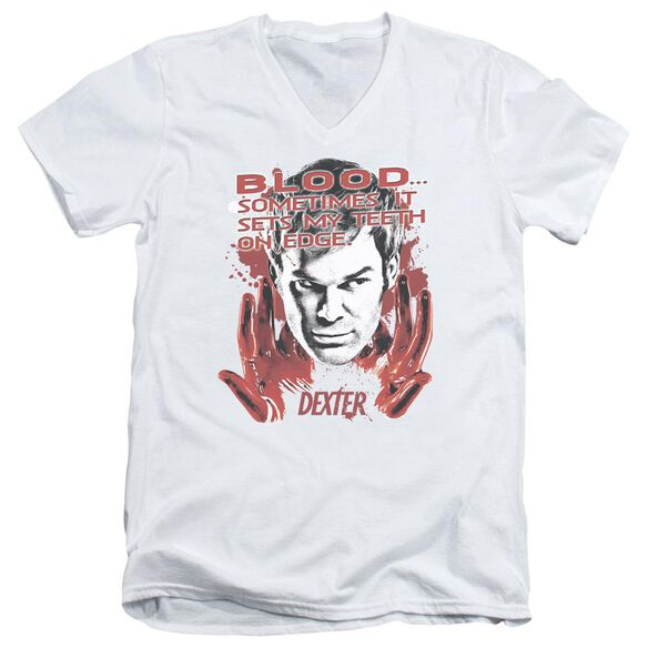 DEXTER BLOOD - S/S ADULT V-NECK 30/1 - WHITE T-Shirt