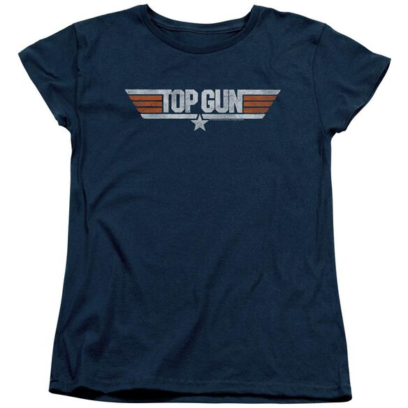Top Gun Distressed Logo Short Sleeve Womens Tee T-Shirt