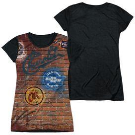Chevrolet Chevy Shop Wall Short Sleeve Junior Poly Black Back T-Shirt