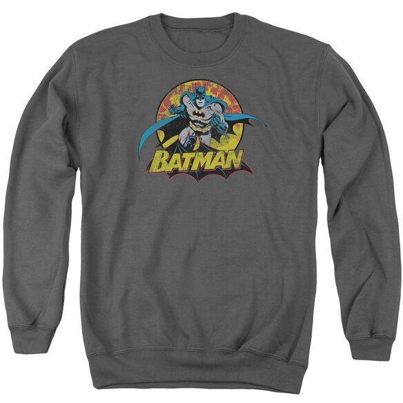 Jla Batman Rough Distress Adult Crewneck Sweatshirt