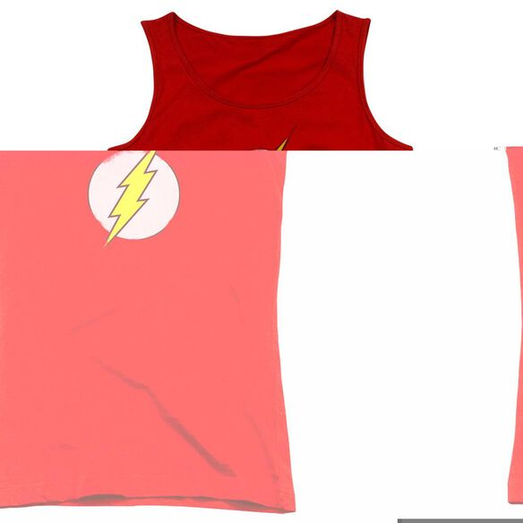 Dc Flash Rough Flash Logo - Juniors Tank Top - Red