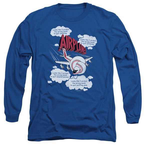 Airplane Picked The Wrong Day Long Sleeve Adult Royal T-Shirt