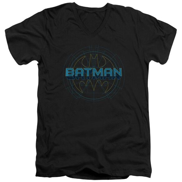 Batman Bat Tech Logo Short Sleeve Adult V Neck T-Shirt
