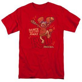 Fraggle Rock Dance Short Sleeve Adult Red T-Shirt