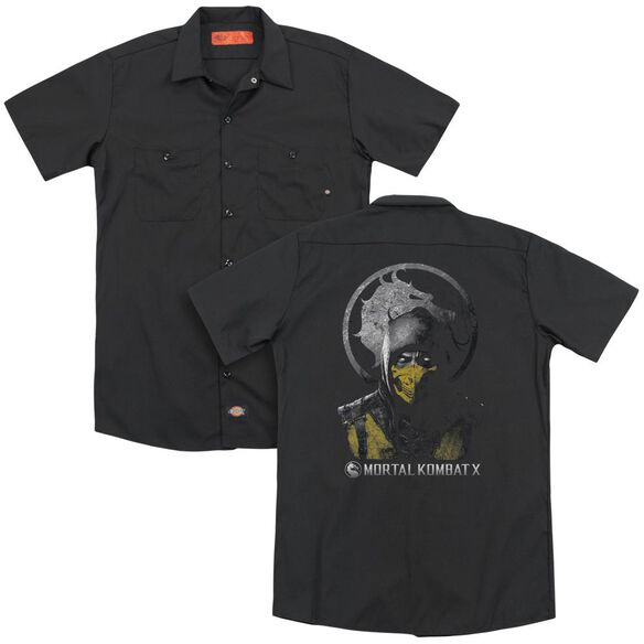Mortal Kombat X Scorpion Bust (Back Print) Adult Work Shirt