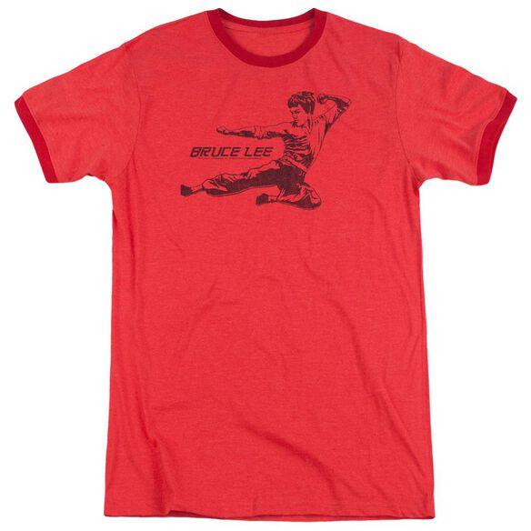 Bruce Lee Line Kick Adult Heather Ringer Red