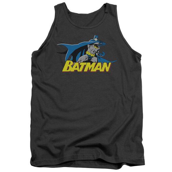 Batman 8 Bit Cape - Adult Tank - Charcoal