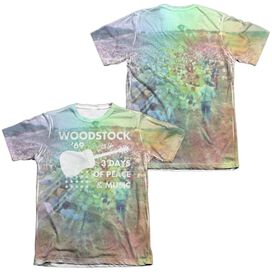 Woodstock On The Hill (Front Back Print) Adult Poly Cotton Short Sleeve Tee T-Shirt