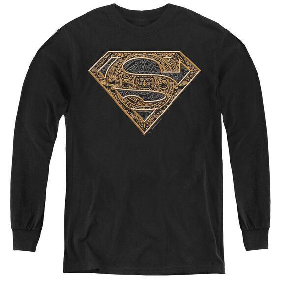 Superman Aztec Shield - Youth Long Sleeve Tee - Black