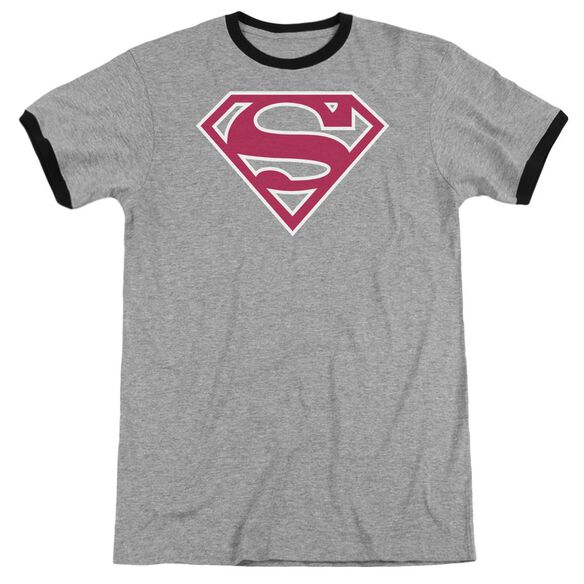 Superman Red & White Shield - Adult Ringer - Heather/black