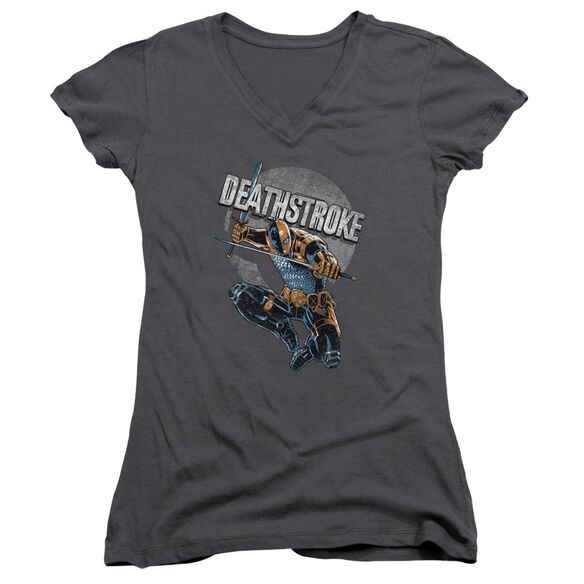 Jla Deathstroke Retro Junior V Neck T-Shirt