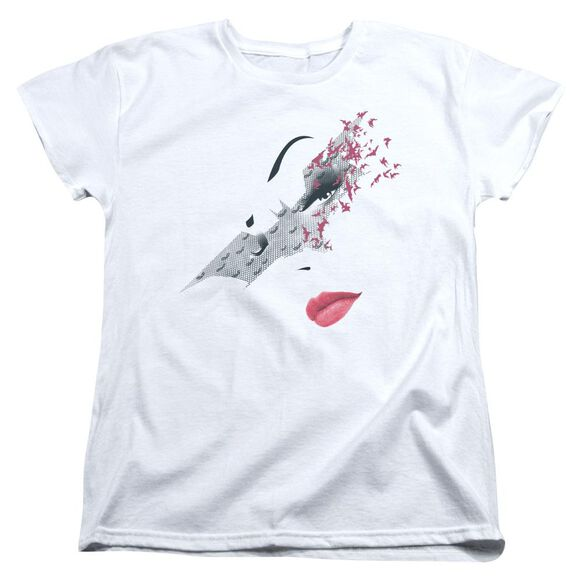 Dark Knight Rises Bat Mask Short Sleeve Women's Tee White T-Shirt