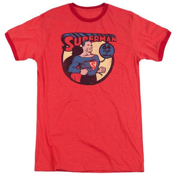 Dc Superman 64 Adult Heather Ringer Red