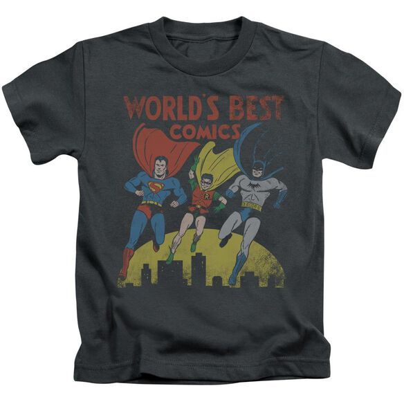 Jla World's Best Short Sleeve Juvenile Charcoal Md T-Shirt