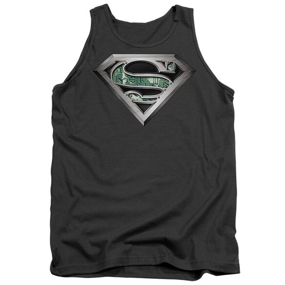 Superman Circuitry Logo - Adult Tank - Charcoal
