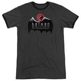 Batman The Animated Series Distressed Logo Adult Heather Ringer Charcoal