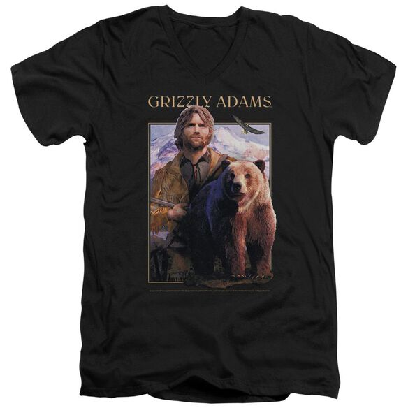 Grizzly Adams Collage Short Sleeve Adult V Neck T-Shirt