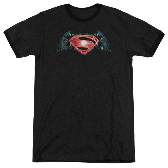Batman V Superman Industrial Logo Adult Heather Ringer