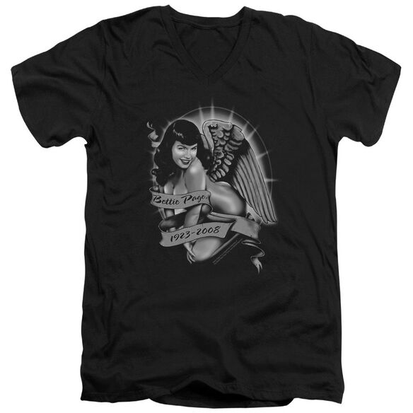 Bettie Page Remember Short Sleeve Adult V Neck T-Shirt