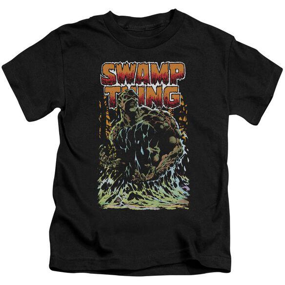 Jla Swamp Thing Short Sleeve Juvenile Black T-Shirt