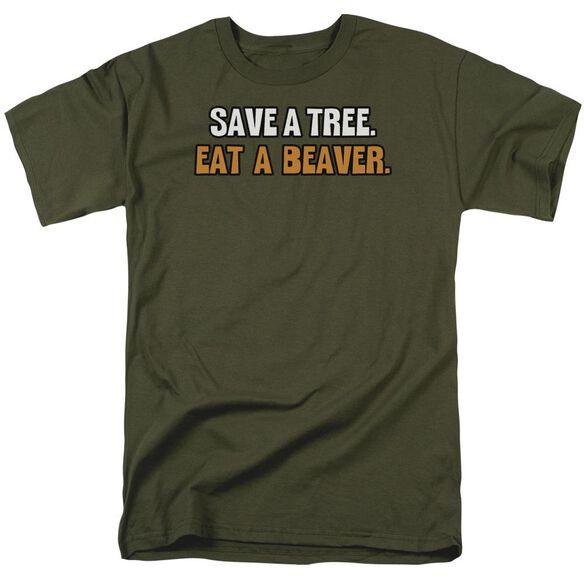 Eat A Beaver Short Sleeve Adult Military Green T-Shirt