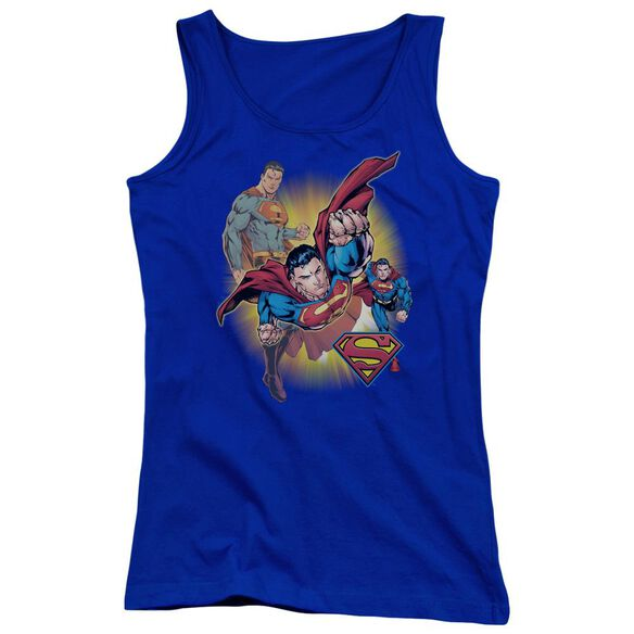 Jla Superman Collage Juniors Tank Top Royal