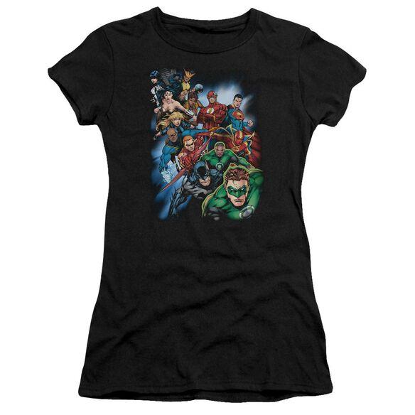 Jla Heroes Unite Short Sleeve Junior Sheer T-Shirt