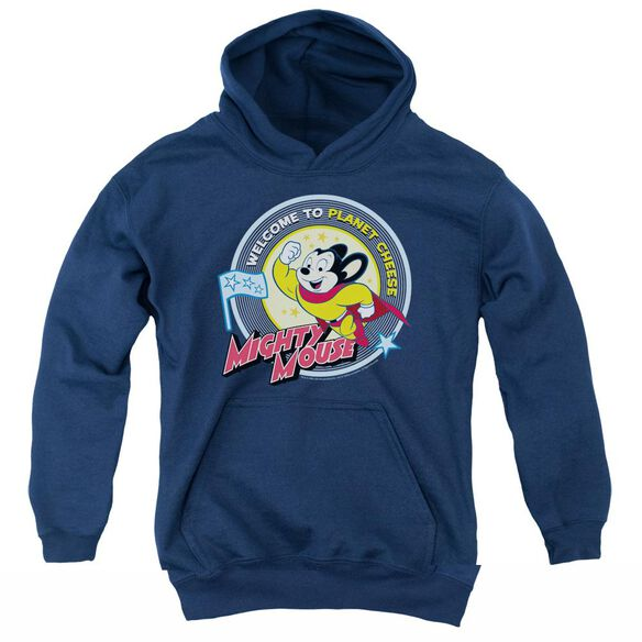 Mighty Mouse Planet Cheese-youth Pull-over Hoodie - Navy
