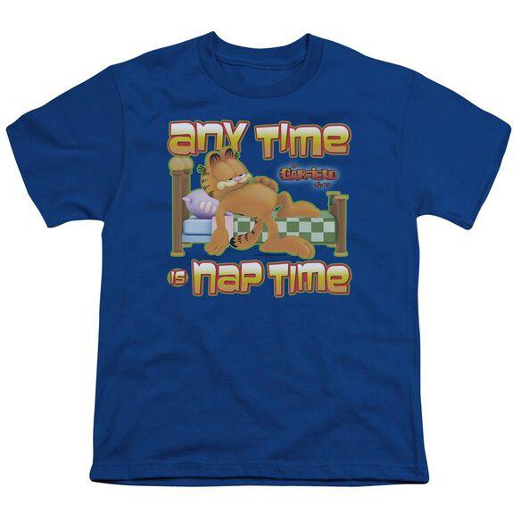 Garfield Nap Time Short Sleeve Youth Royal T-Shirt