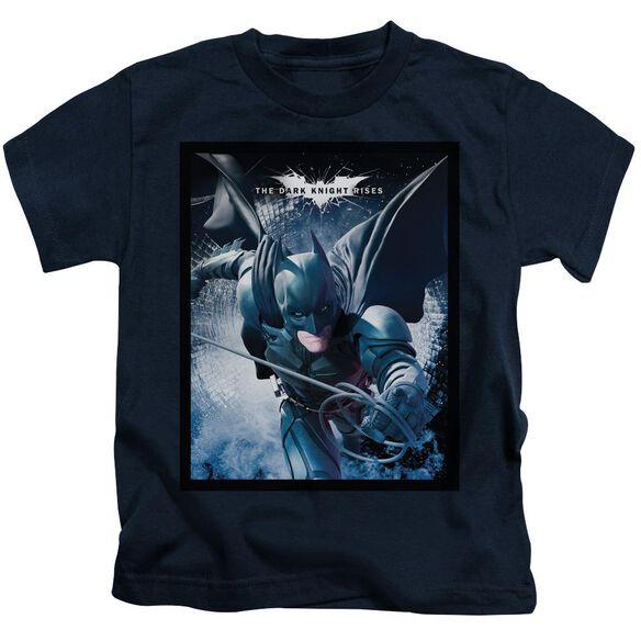 Dark Knight Rises Swing Into Action Short Sleeve Juvenile Navy T-Shirt