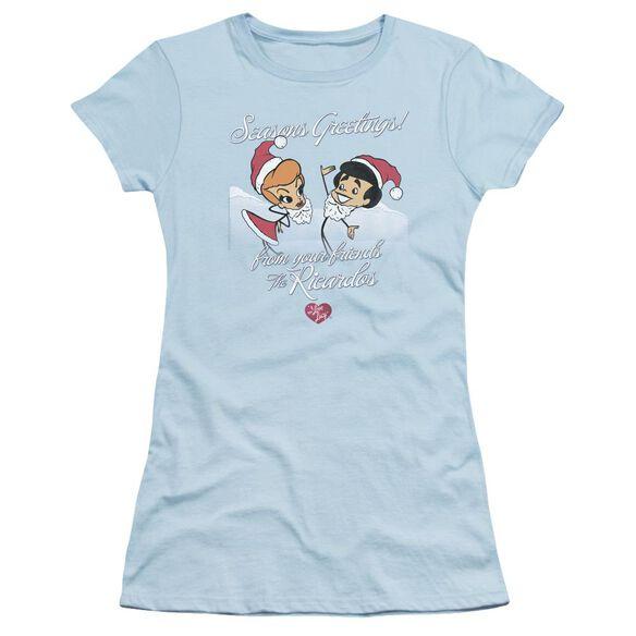I Love Lucy Animated Christmas Short Sleeve Junior Sheer Light T-Shirt