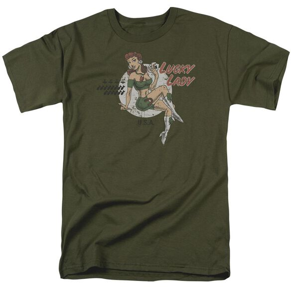 Lucky Lady Short Sleeve Adult Military Green T-Shirt