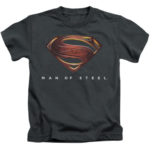 Man Of Steel Mos New Logo Short Sleeve Juvenile Charcoal T-Shirt