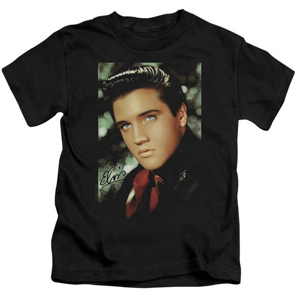 Elvis Red Scarf Short Sleeve Juvenile Black T-Shirt