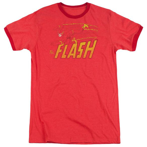 Dc Flash Speed Distressed Adult Heather Ringer Red