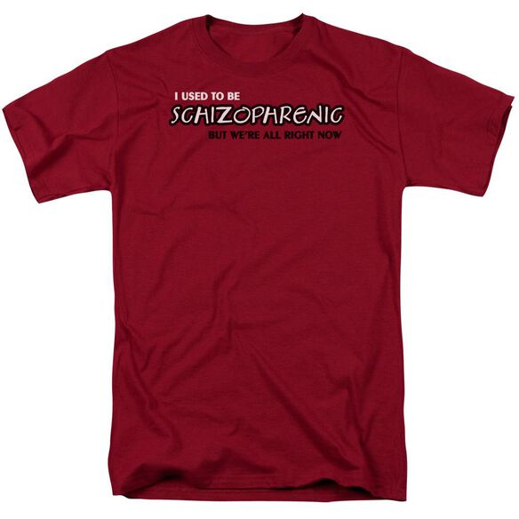 Schizophrenic Short Sleeve Adult Cardinal T-Shirt