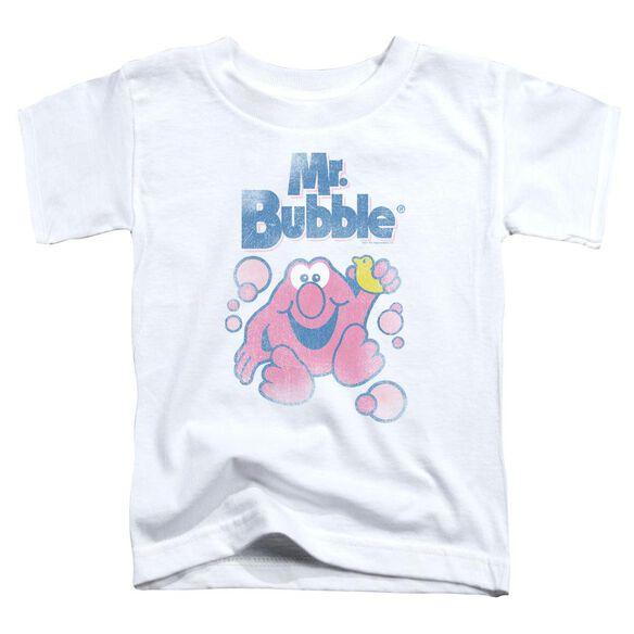 Mr Bubble 80 S Logo Short Sleeve Toddler Tee White T-Shirt