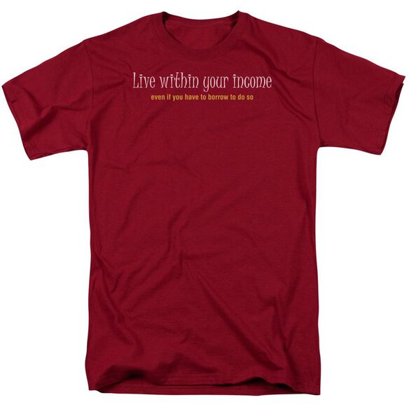 Within Your Income Short Sleeve Adult Cardinal T-Shirt