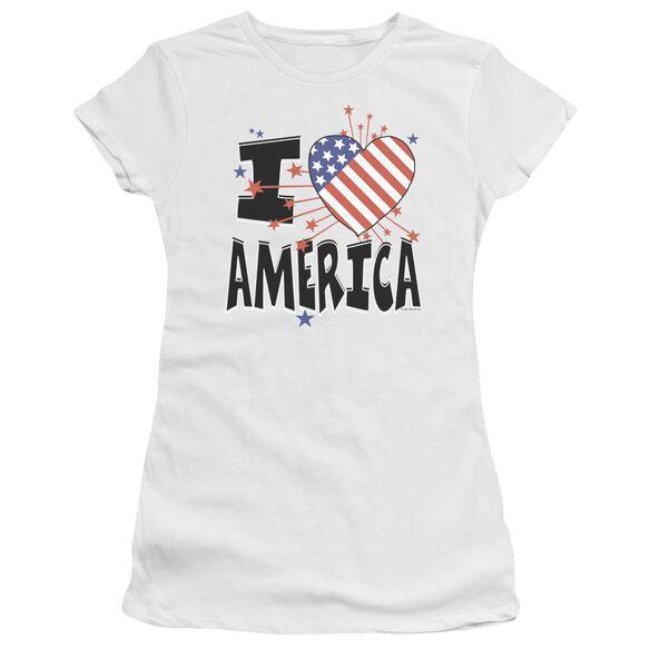 I Heart America Short Sleeve Junior Sheer T-Shirt
