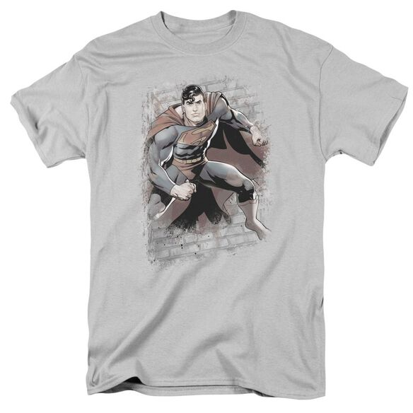 Jla Superman Bricks Short Sleeve Adult T-Shirt