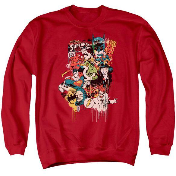 Dc Dripping Characters Adult Crewneck Sweatshirt