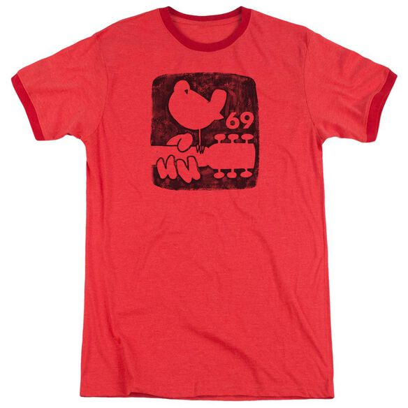 Woodstock Summer 69 Adult Heather Ringer Red