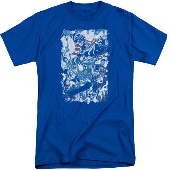 Jla American Justice Short Sleeve Adult Tall Royal T-Shirt