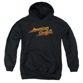 American Graffiti Neon Logo - Youth Pull-over Hoodie - Black - Md - Black