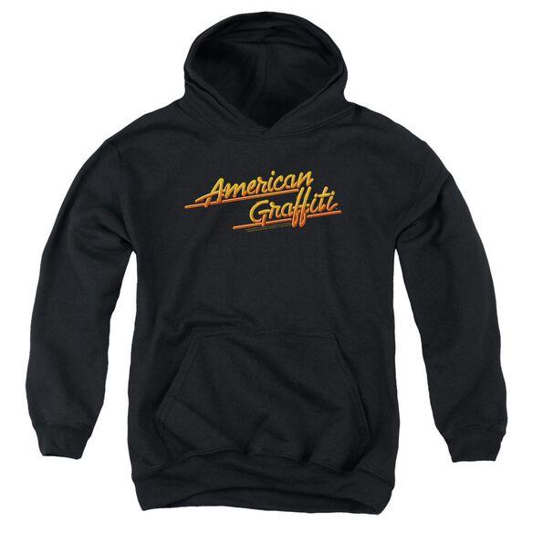 American Graffiti Neon Logo - Youth Pull-over Hoodie - Black - Sm - Black